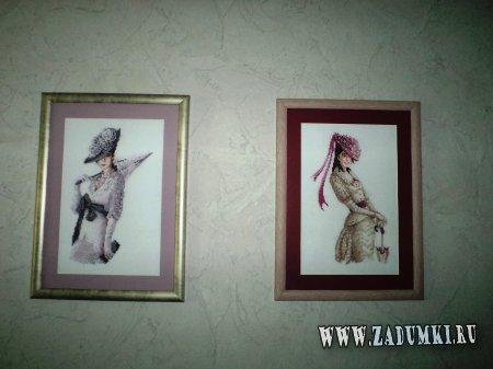 Ручная работа.  Картины из бисера.  Две дамы были вышиты.  Можно звонить в любое время.  2006-2013 год.